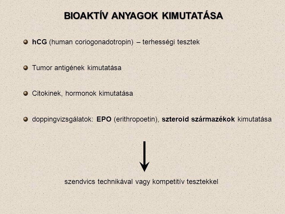 BIOAKTÍV ANYAGOK KIMUTATÁSA hCG (human coriogonadotropin) – terhességi tesztek Tumor antigének kimutatása Citokinek, hormonok kimutatása doppingvizsgálatok: EPO (erithropoetin), szteroid származékok kimutatása szendvics technikával vagy kompetitív tesztekkel