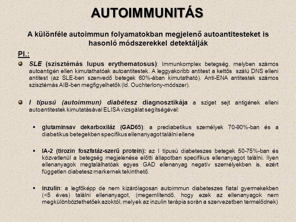 AUTOIMMUNITÁS A különféle autoimmun folyamatokban megjelenő autoantitesteket is hasonló módszerekkel detektálják Pl.: SLE (szisztémás lupus erythematosus) : Immunkomplex betegség, melyben számos autoantigén ellen kimutathatóak autoantitestek.