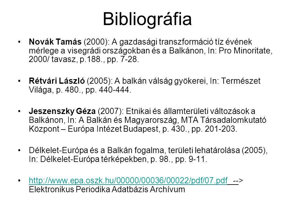 Bibliográfia Novák Tamás (2000): A gazdasági transzformáció tíz évének mérlege a visegrádi országokban és a Balkánon, In: Pro Minoritate, 2000/ tavasz, p.188., pp.