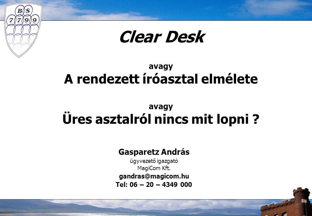 Clear Desk avagy A rendezett íróasztal elmélete avagy Üres asztalról nincs mit lopni .