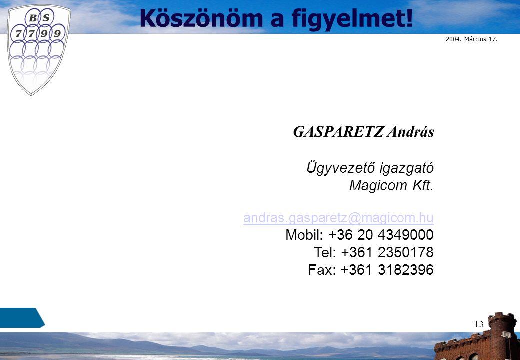 2004.Március 17. 13 Köszönöm a figyelmet. GASPARETZ András Ügyvezető igazgató Magicom Kft.