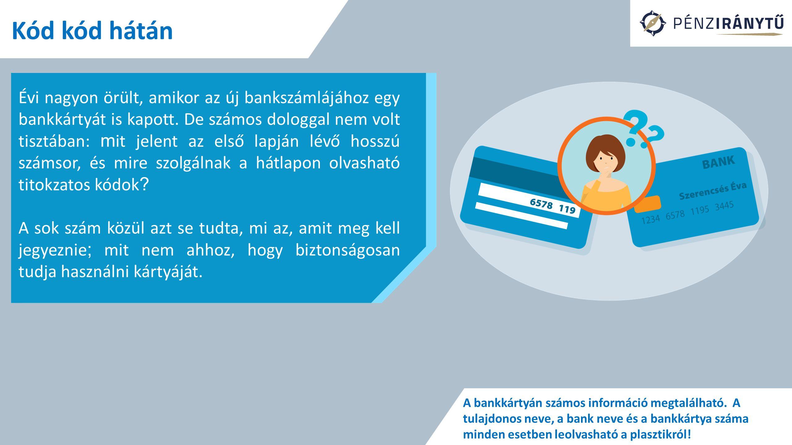Kód kód hátán Évi nagyon örült, amikor az új bankszámlájához egy bankkártyát is kapott. De számos dologgal nem volt tisztában: m it jelent az első lap