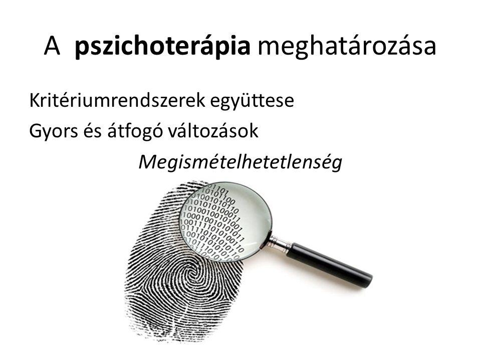 A pszichoterápia meghatározása Kritériumrendszerek együttese Gyors és átfogó változások Megismételhetetlenség