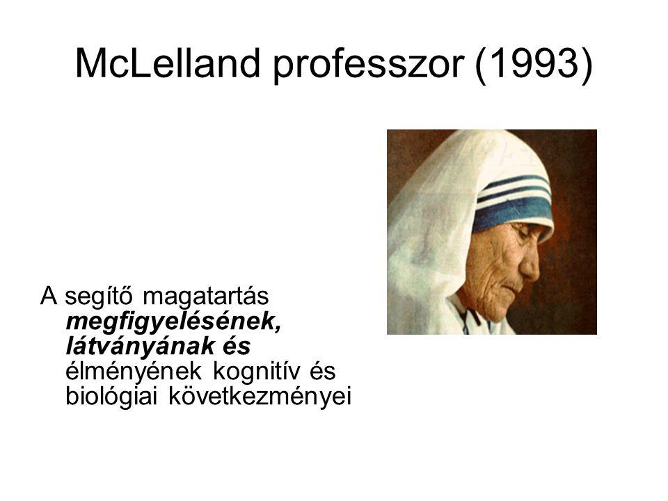 McLelland professzor (1993) A segítő magatartás megfigyelésének, látványának és élményének kognitív és biológiai következményei