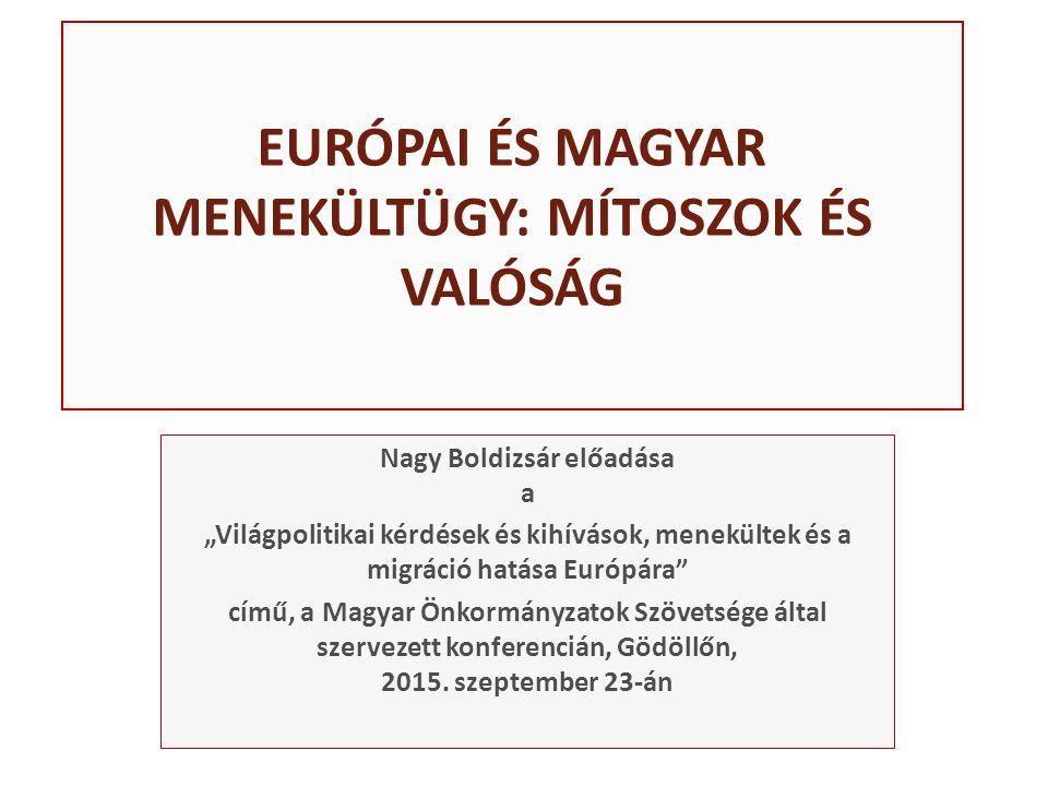 """EURÓPAI ÉS MAGYAR MENEKÜLTÜGY: MÍTOSZOK ÉS VALÓSÁG Nagy Boldizsár előadása a """"Világpolitikai kérdések és kihívások, menekültek és a migráció hatása Európára című, a Magyar Önkormányzatok Szövetsége által szervezett konferencián, Gödöllőn, 2015."""