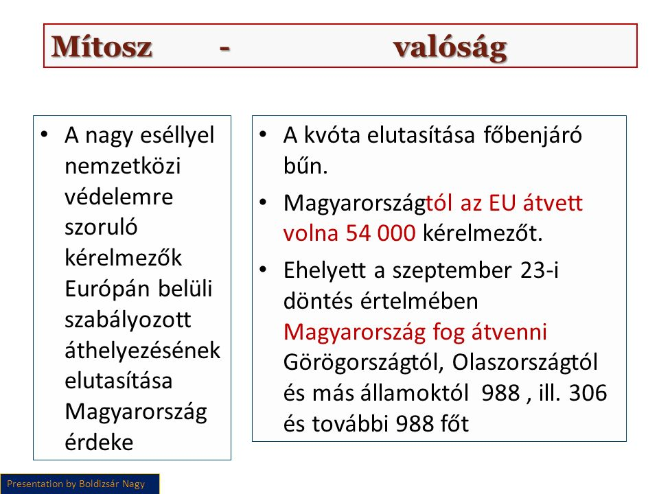 A nagy eséllyel nemzetközi védelemre szoruló kérelmezők Európán belüli szabályozott áthelyezésének elutasítása Magyarország érdeke A kvóta elutasítása főbenjáró bűn.