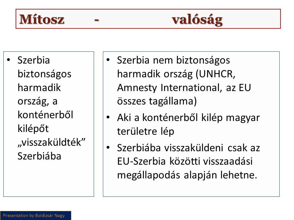 """Szerbia biztonságos harmadik ország, a konténerből kilépőt """"visszaküldték Szerbiába Szerbia nem biztonságos harmadik ország (UNHCR, Amnesty International, az EU összes tagállama) Aki a konténerből kilép magyar területre lép Szerbiába visszaküldeni csak az EU-Szerbia közötti visszaadási megállapodás alapján lehetne."""