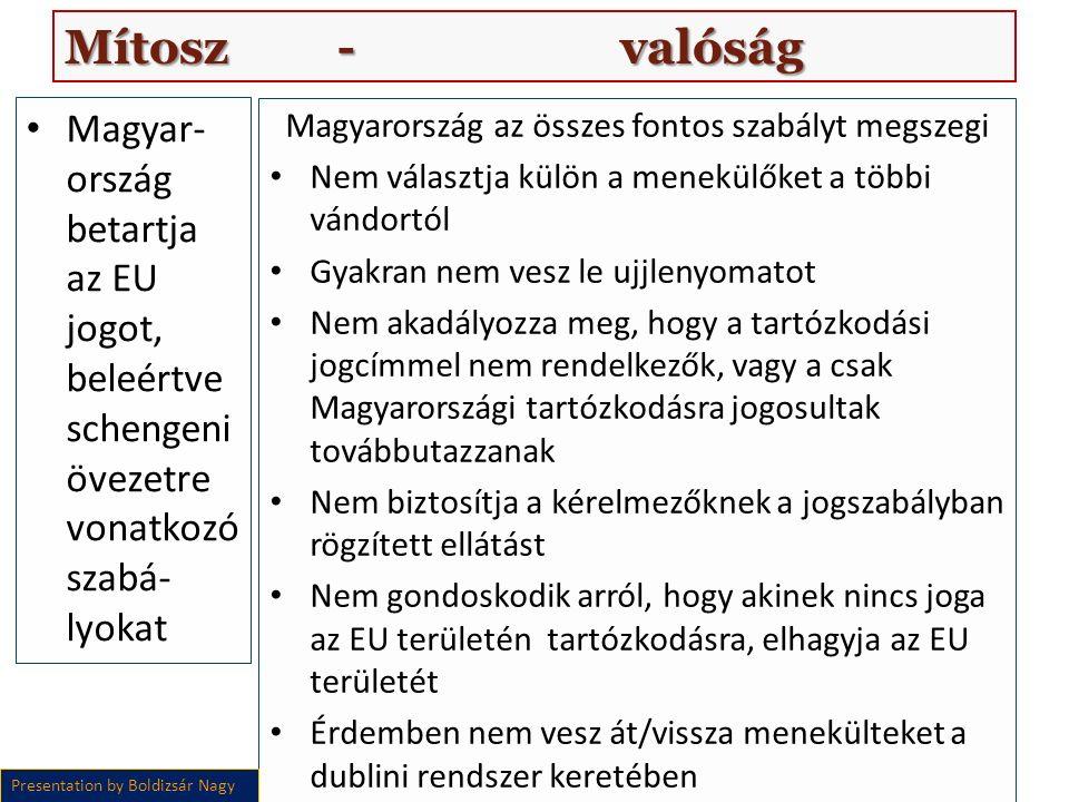 Magyar- ország betartja az EU jogot, beleértve schengeni övezetre vonatkozó szabá- lyokat Magyarország az összes fontos szabályt megszegi Nem választja külön a menekülőket a többi vándortól Gyakran nem vesz le ujjlenyomatot Nem akadályozza meg, hogy a tartózkodási jogcímmel nem rendelkezők, vagy a csak Magyarországi tartózkodásra jogosultak továbbutazzanak Nem biztosítja a kérelmezőknek a jogszabályban rögzített ellátást Nem gondoskodik arról, hogy akinek nincs joga az EU területén tartózkodásra, elhagyja az EU területét Érdemben nem vesz át/vissza menekülteket a dublini rendszer keretében Presentation by Boldizsár Nagy Mítosz - valóság