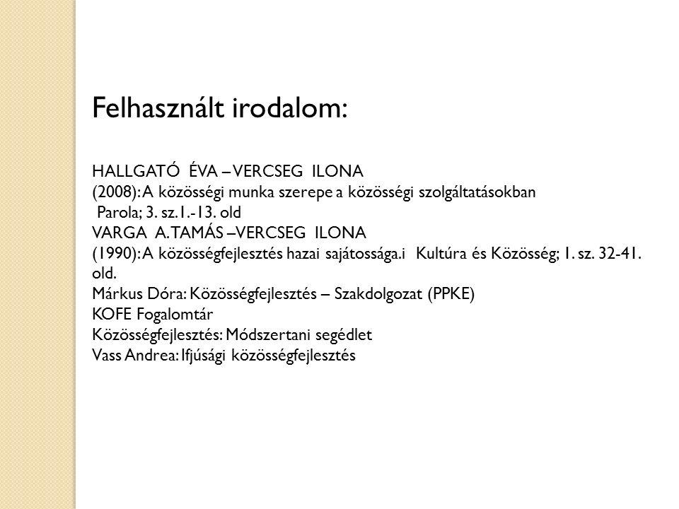 Felhasznált irodalom: HALLGATÓ ÉVA – VERCSEG ILONA (2008): A közösségi munka szerepe a közösségi szolgáltatásokban Parola; 3. sz.1.-13. old VARGA A. T