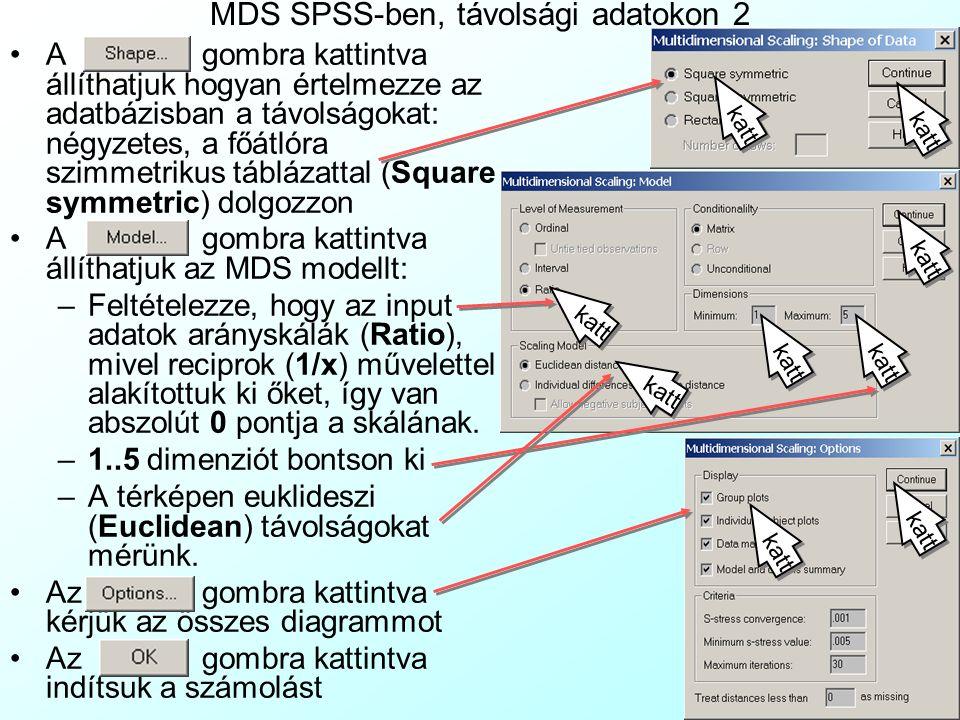 MDS SPSS-ben, távolsági adatokon 1 Most nem állnak rendelkezésre az egyes emberek fontos tulajdonságait leíró változók, csak a köztük mért távolságok: A File|Open menüvel nyissuk meg az KontaktusRecipr.sav fájltKontaktusRecipr.sav Az Analyze| Scale| Multi Dimensional Scaling menüvel válasszuk az MDS-t Erre megjelenik az MDS ablak.