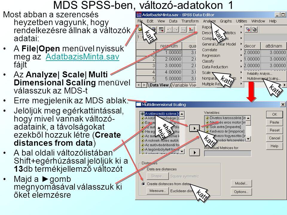 MDS SPSS-ben, változó-adatokon 1 Most abban a szerencsés heyzetben vagyunk, hogy rendelkezésre állnak a változók adatai: A File Open menüvel nyissuk meg az AdatbazisMinta.sav fájltAdatbazisMinta.sav Az Analyze  Scale  Multi Dimensional Scaling menüvel válasszuk az MDS-t Erre megjelenik az MDS ablak.