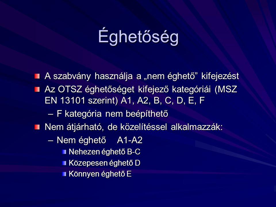 """Éghetőség A szabvány használja a """"nem éghető kifejezést Az OTSZ éghetőséget kifejező kategóriái (MSZ EN 13101 szerint) A1, A2, B, C, D, E, F –F kategória nem beépíthető Nem átjárható, de közelítéssel alkalmazzák: –Nem éghető A1-A2 Nehezen éghető B-C Közepesen éghető D Könnyen éghető E"""
