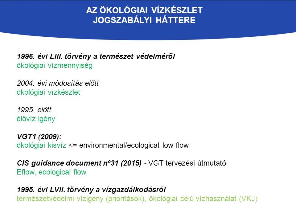 AZ ÖKOLÓGIAI VÍZKÉSZLET JOGSZABÁLYI HÁTTERE 1996. évi LIII.