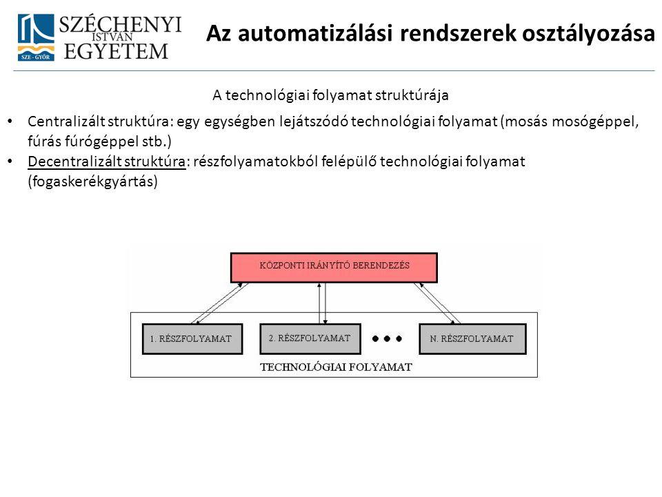 Az automatizálási rendszerek osztályozása A technológiai folyamat struktúrája Centralizált struktúra: egy egységben lejátszódó technológiai folyamat (