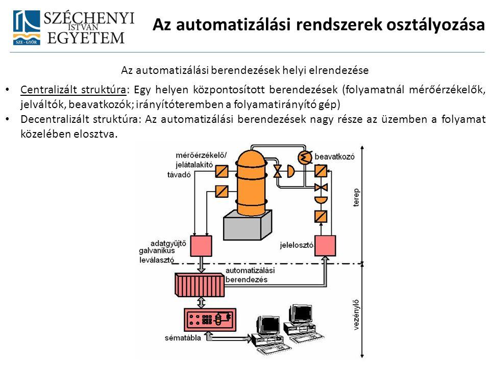 Az automatizálási rendszerek osztályozása Az automatizálási berendezések helyi elrendezése Centralizált struktúra: Egy helyen központosított berendezé