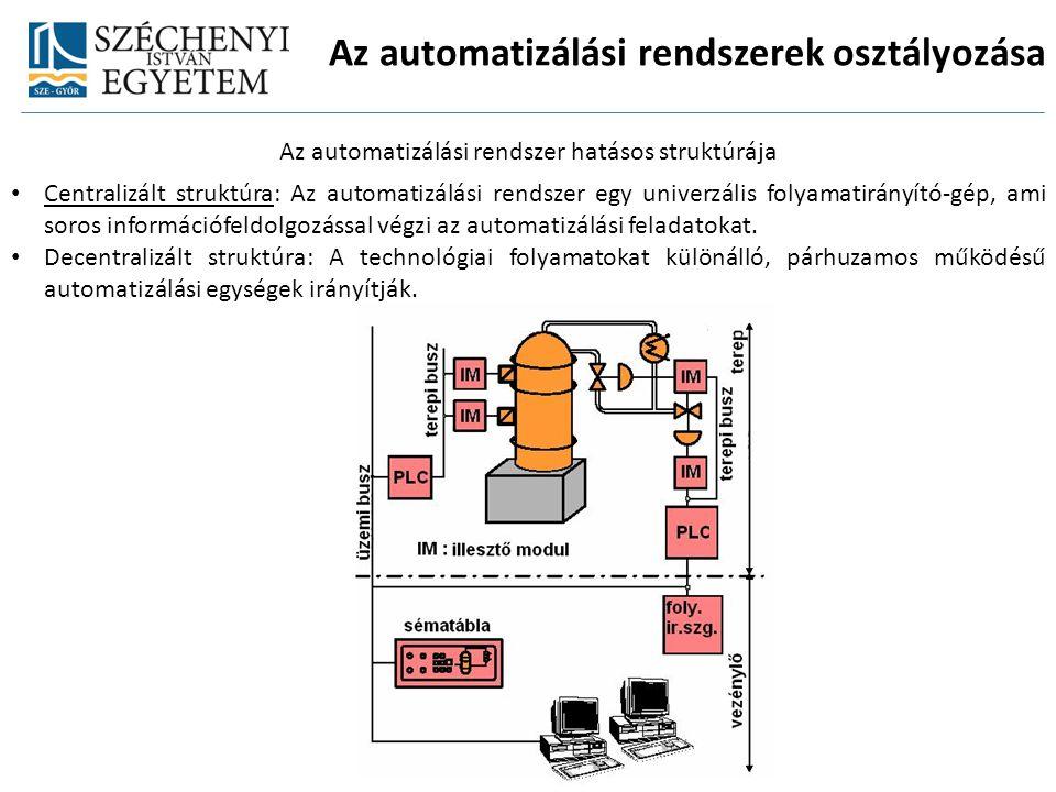 Az automatizálási rendszerek osztályozása Az automatizálási rendszer hatásos struktúrája Centralizált struktúra: Az automatizálási rendszer egy univer