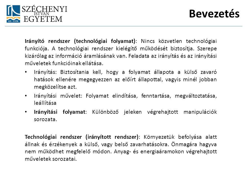Bevezetés Irányító rendszer (technológiai folyamat): Nincs közvetlen technológiai funkciója. A technológiai rendszer kielégítő működését biztosítja. S
