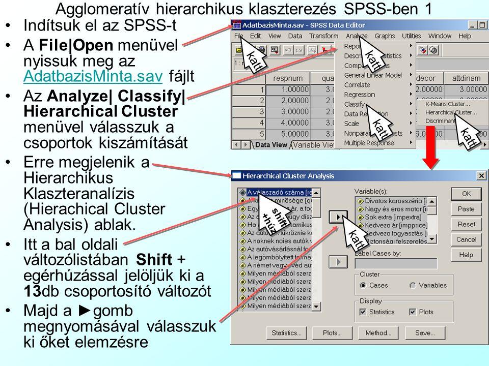 Agglomeratív hierarchikus klaszterezés SPSS-ben 1 Indítsuk el az SPSS-t A File|Open menüvel nyissuk meg az AdatbazisMinta.sav fájlt AdatbazisMinta.sav