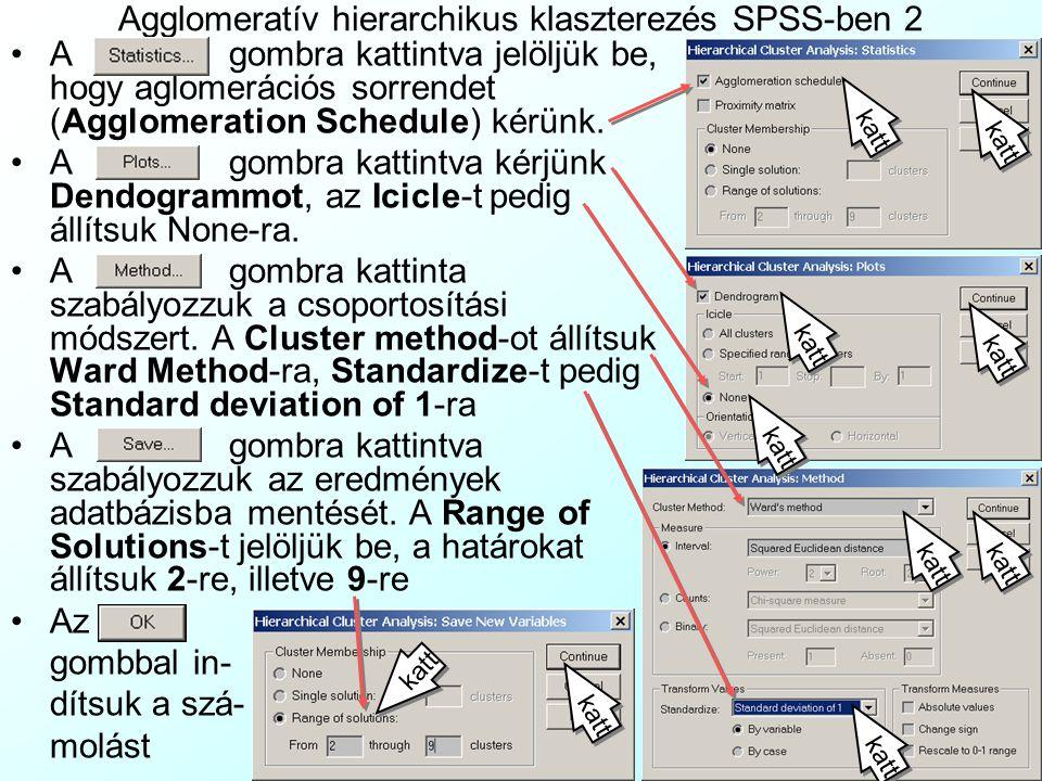 Agglomeratív hierarchikus klaszterezés SPSS-ben 2 A gombra kattintva jelöljük be, hogy aglomerációs sorrendet (Agglomeration Schedule) kérünk. A gombr