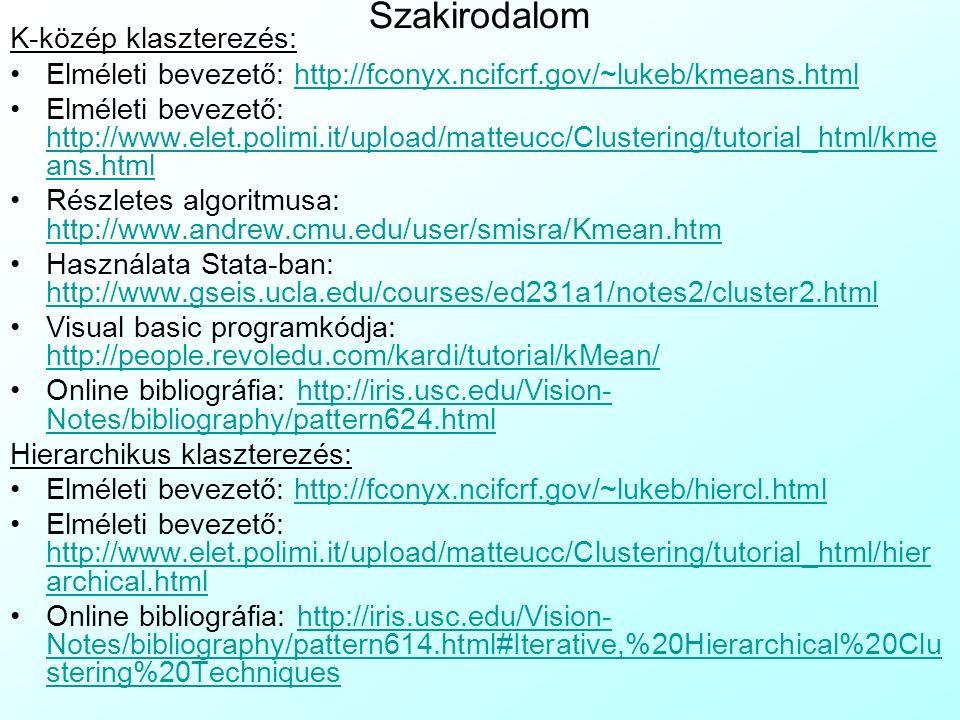 Szakirodalom K-közép klaszterezés: Elméleti bevezető: http://fconyx.ncifcrf.gov/~lukeb/kmeans.htmlhttp://fconyx.ncifcrf.gov/~lukeb/kmeans.html Elmélet