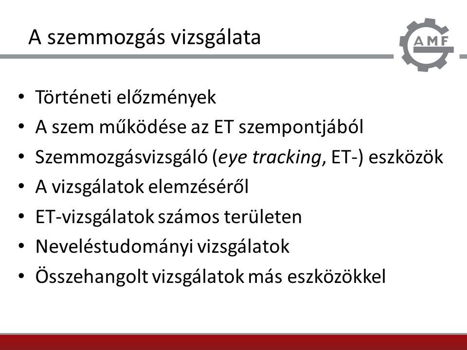 A szemmozgás vizsgálata Történeti előzmények A szem működése az ET szempontjából Szemmozgásvizsgáló (eye tracking, ET-) eszközök A vizsgálatok elemzés