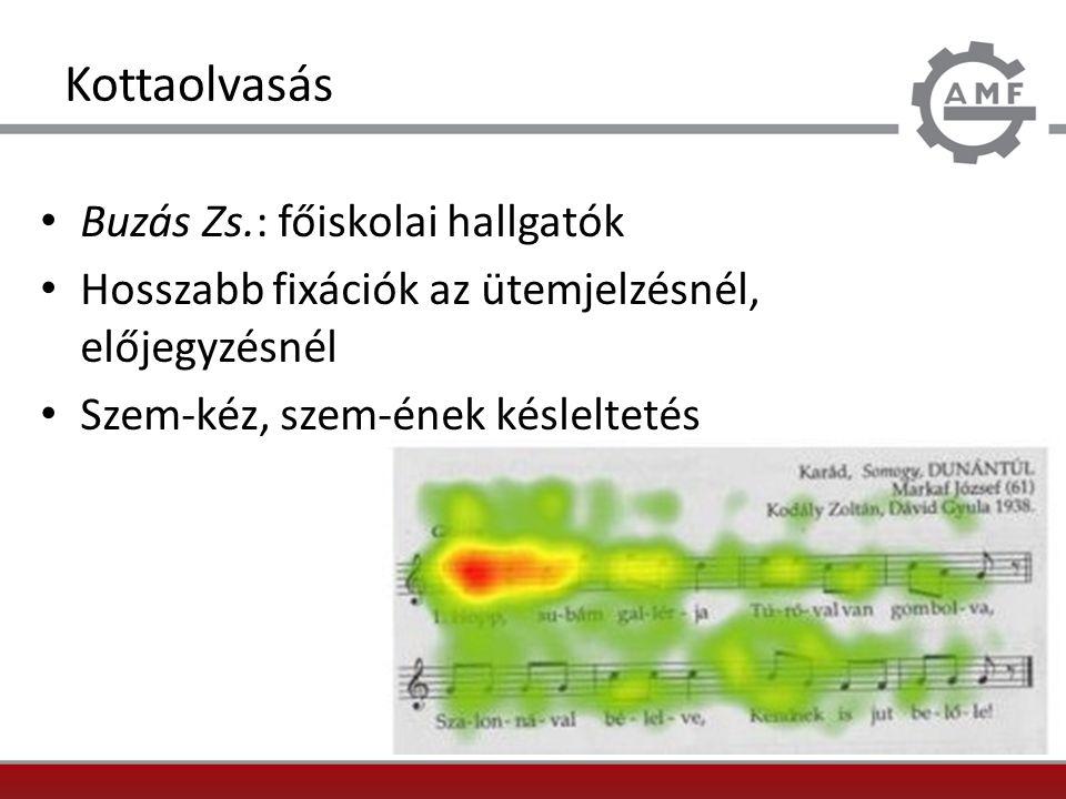 Kottaolvasás Buzás Zs.: főiskolai hallgatók Hosszabb fixációk az ütemjelzésnél, előjegyzésnél Szem-kéz, szem-ének késleltetés