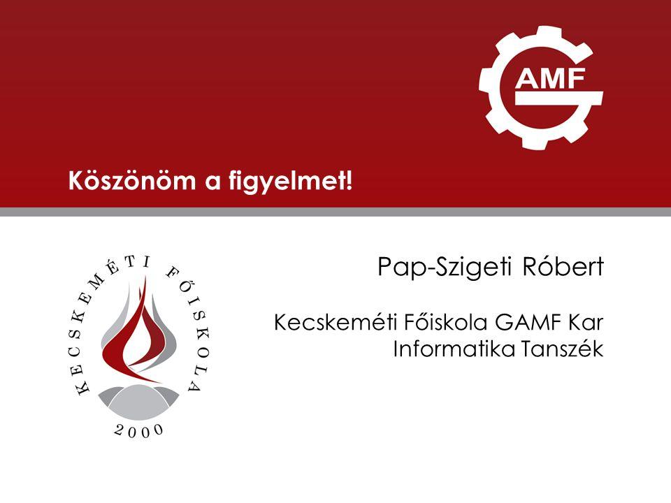 ELŐADÁS CÍME Köszönöm a figyelmet! Pap-Szigeti Róbert Kecskeméti Főiskola GAMF Kar Informatika Tanszék