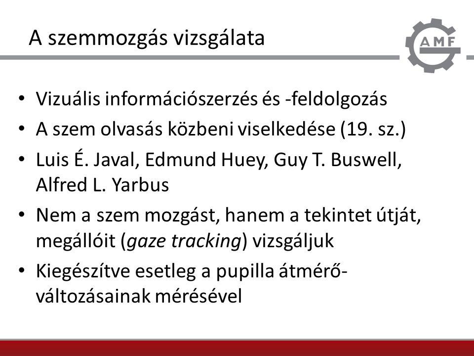 A szemmozgás vizsgálata Vizuális információszerzés és -feldolgozás A szem olvasás közbeni viselkedése (19. sz.) Luis É. Javal, Edmund Huey, Guy T. Bus
