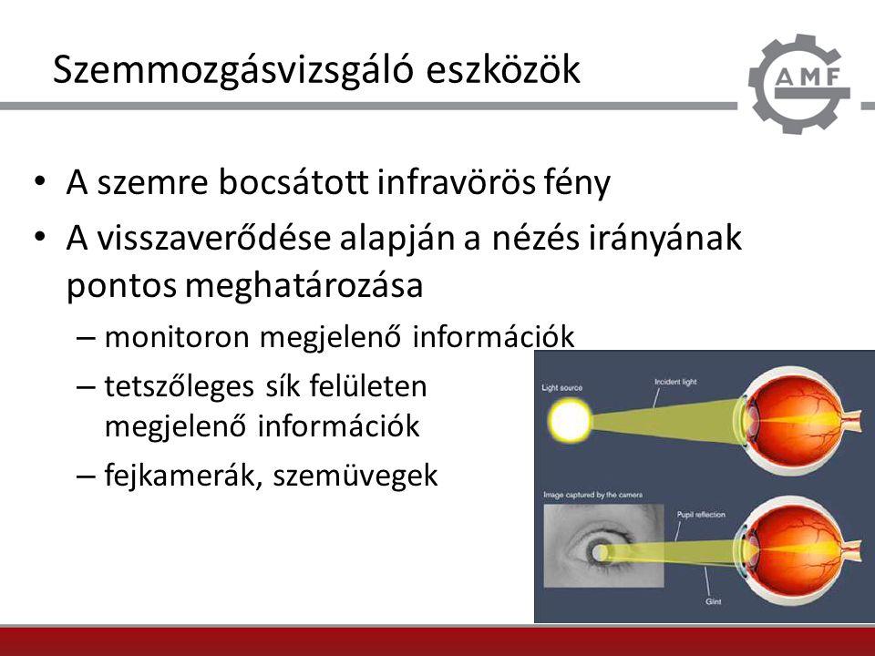 Szemmozgásvizsgáló eszközök A szemre bocsátott infravörös fény A visszaverődése alapján a nézés irányának pontos meghatározása – monitoron megjelenő i