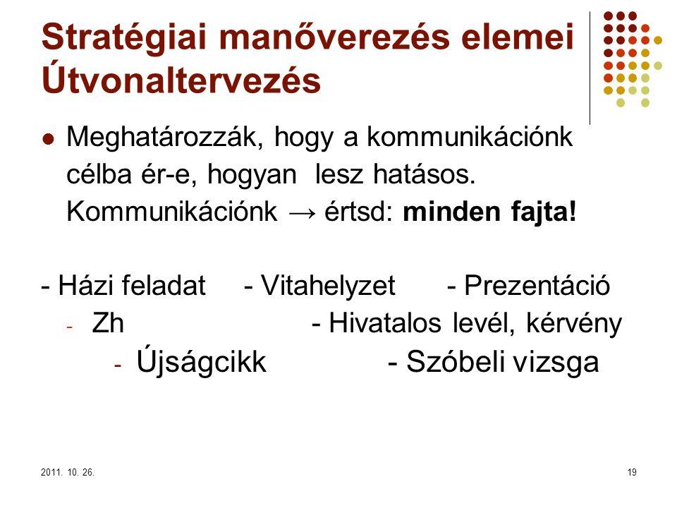 2011. 10. 26.19 Stratégiai manőverezés elemei Útvonaltervezés Meghatározzák, hogy a kommunikációnk célba ér-e, hogyan lesz hatásos. Kommunikációnk → é