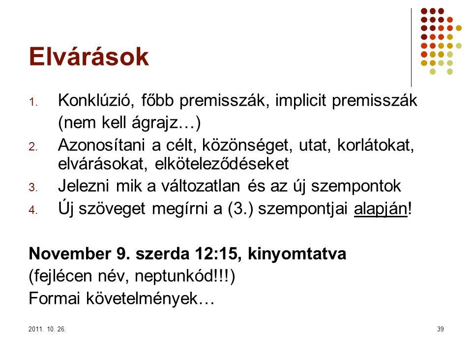 2011. 10. 26.39 Elvárások 1. Konklúzió, főbb premisszák, implicit premisszák (nem kell ágrajz…) 2. Azonosítani a célt, közönséget, utat, korlátokat, e