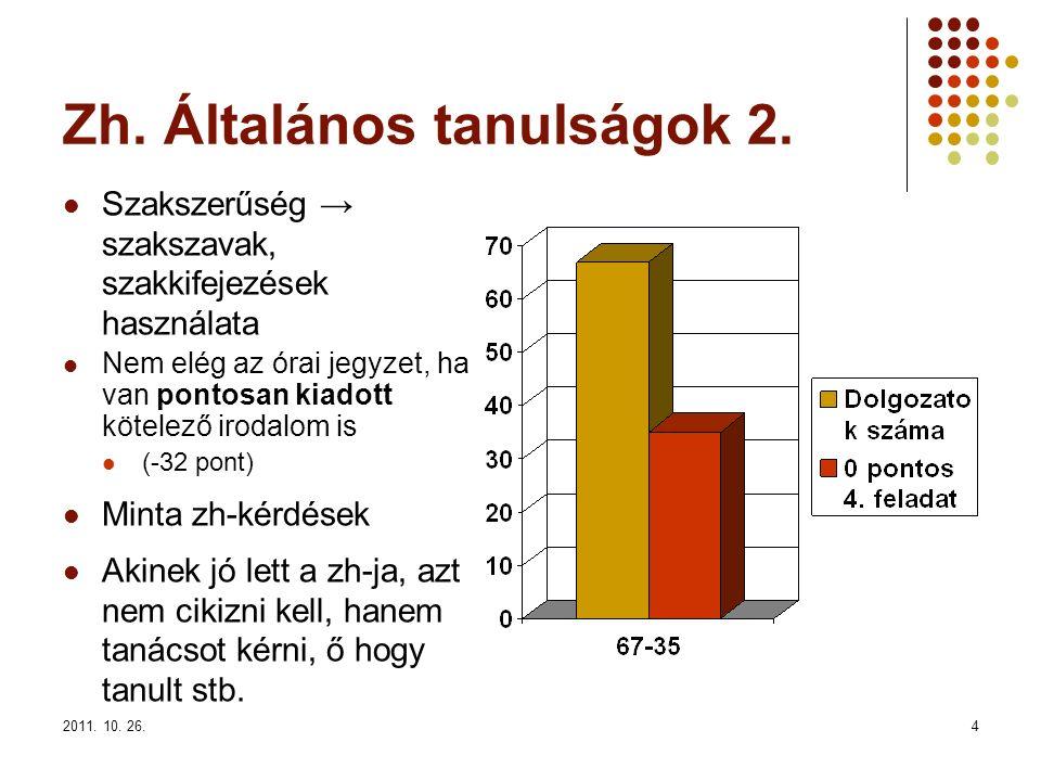 2011. 10. 26.4 Zh. Általános tanulságok 2. Szakszerűség → szakszavak, szakkifejezések használata Nem elég az órai jegyzet, ha van pontosan kiadott köt