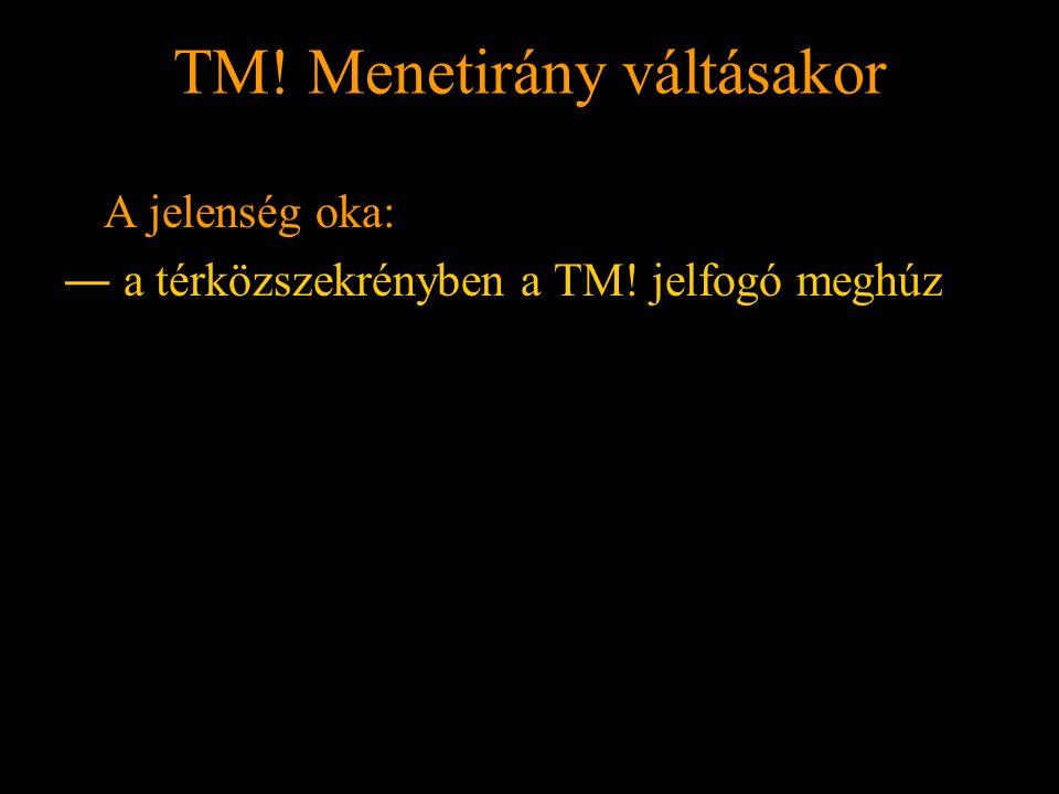 TM! Menetirány váltásakor Rétlaki Győző: Földelési rendszer TM! Menetirány váltásakor A jelenség oka: ― a térközszekrényben a TM! jelfogó meghúz