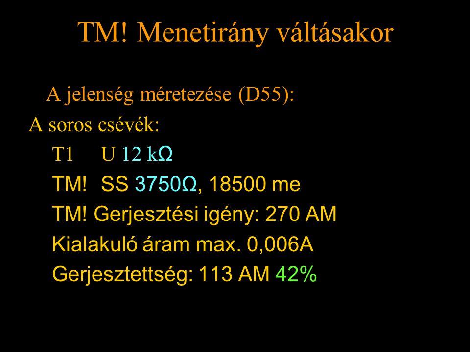 TM! Menetirány váltásakor Rétlaki Győző: Földelési rendszer TM! Menetirány váltásakor A jelenség méretezése (D55): A soros csévék: T1 U 12 k Ω TM! SS