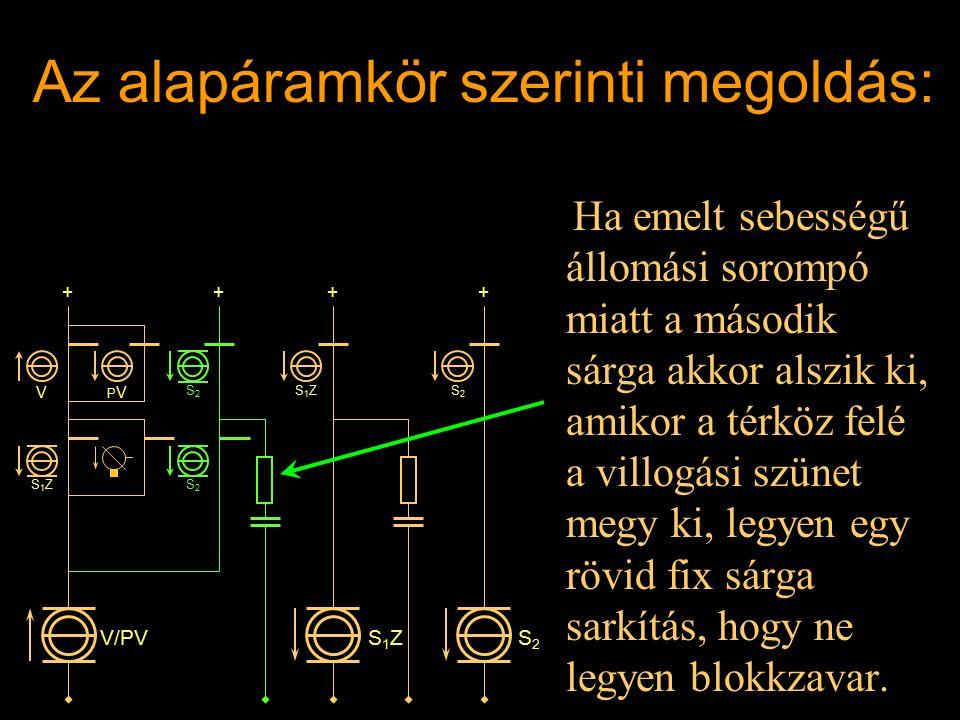 Az alapáramkör szerinti megoldás: 3. Ha emelt sebességű állomási sorompó miatt a második sárga akkor alszik ki, amikor a térköz felé a villogási szüne