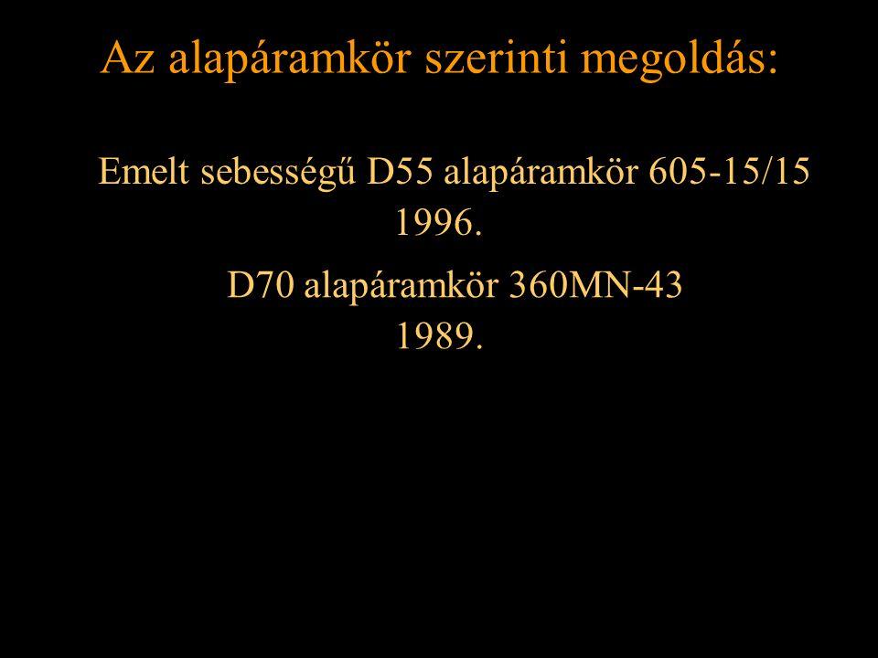 Rétlaki Győző: Földelési rendszer Az alapáramkör szerinti megoldás: Emelt sebességű D55 alapáramkör 605-15/15 1996. D70 alapáramkör 360MN-43 1989.