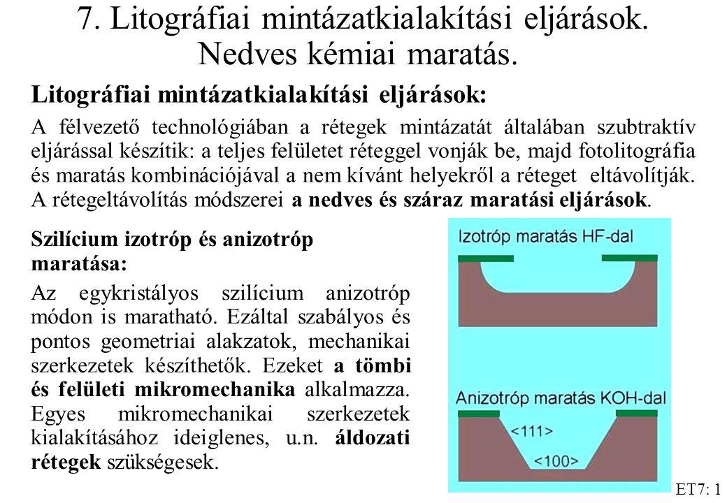 ET7: 1 7. Litográfiai mintázatkialakítási eljárások. Nedves kémiai maratás. Litográfiai mintázatkialakítási eljárások: A félvezető technológiában a ré