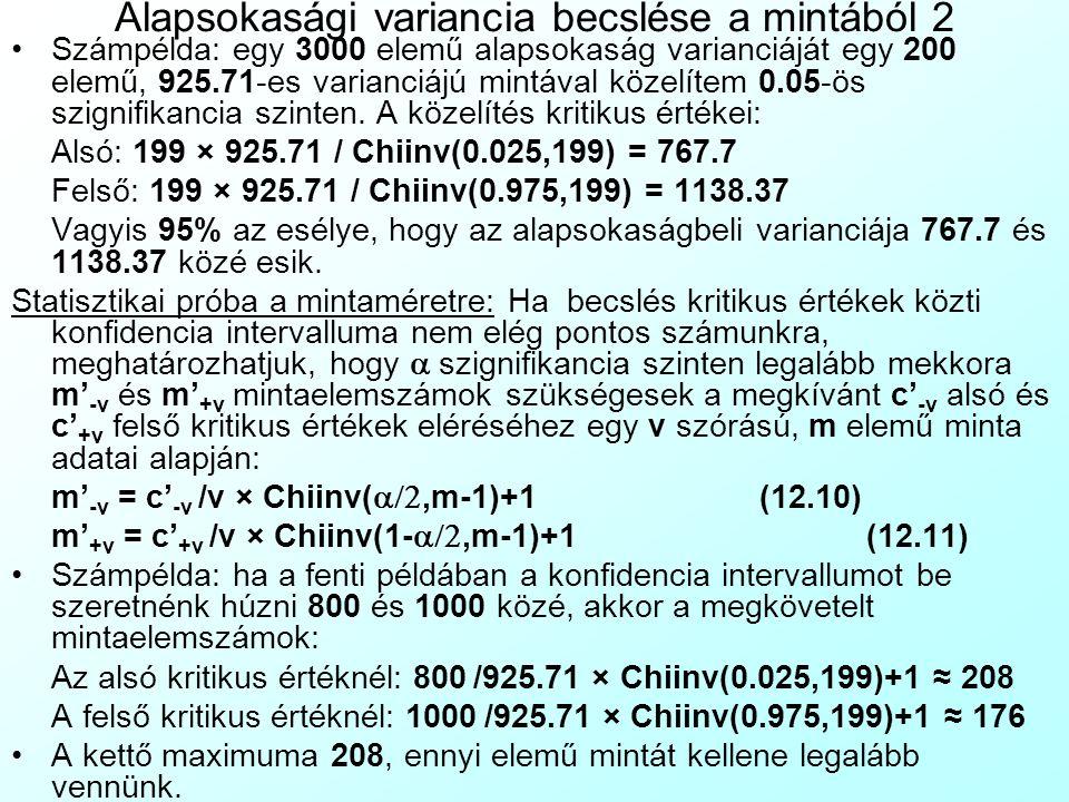 Alapsokasági variancia becslése a mintából 2 Számpélda: egy 3000 elemű alapsokaság varianciáját egy 200 elemű, 925.71-es varianciájú mintával közelítem 0.05-ös szignifikancia szinten.