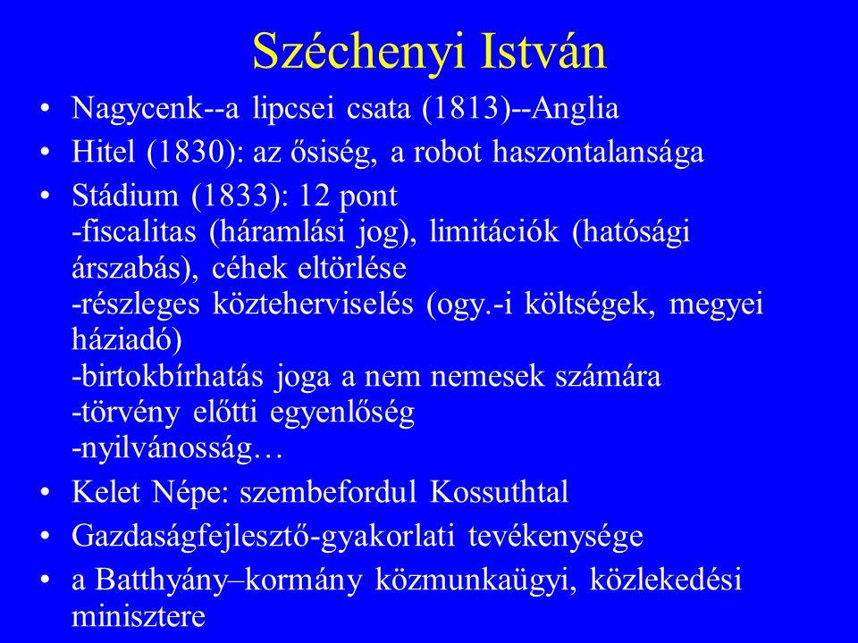 Széchenyi István Nagycenk--a lipcsei csata (1813)--Anglia Hitel (1830): az ősiség, a robot haszontalansága Stádium (1833): 12 pont -fiscalitas (háraml