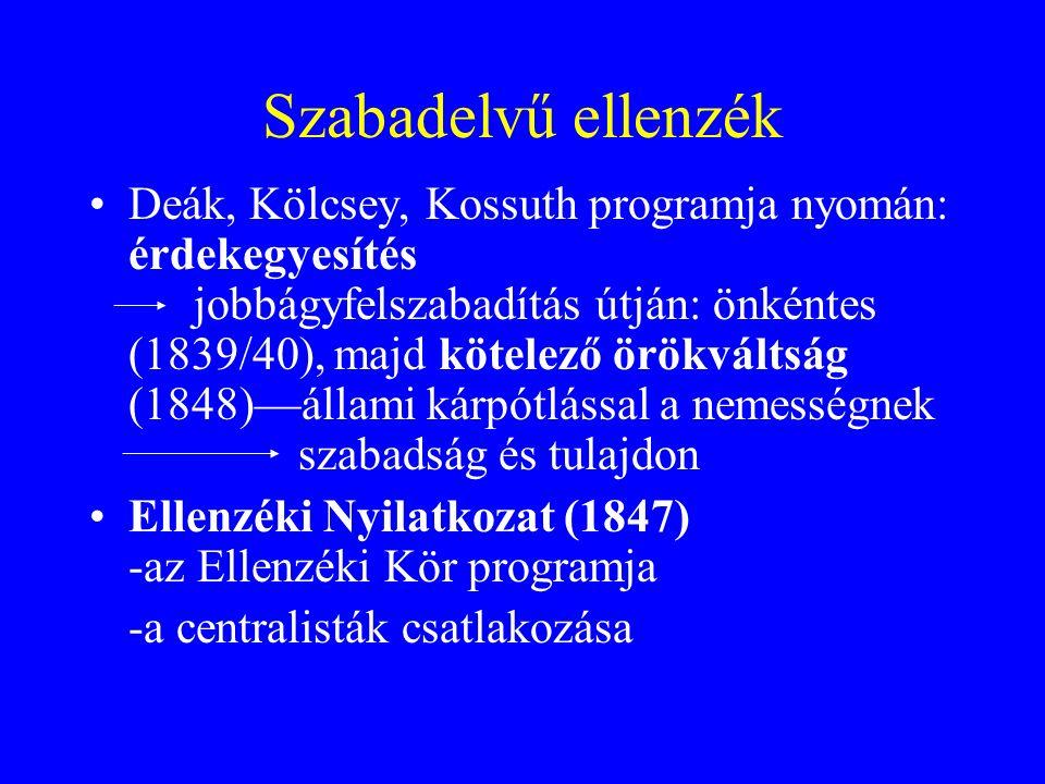 Szabadelvű ellenzék Deák, Kölcsey, Kossuth programja nyomán: érdekegyesítés jobbágyfelszabadítás útján: önkéntes (1839/40), majd kötelező örökváltság