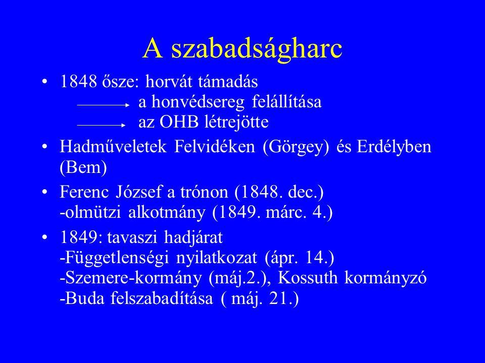 A szabadságharc 1848 ősze: horvát támadás a honvédsereg felállítása az OHB létrejötte Hadműveletek Felvidéken (Görgey) és Erdélyben (Bem) Ferenc Józse