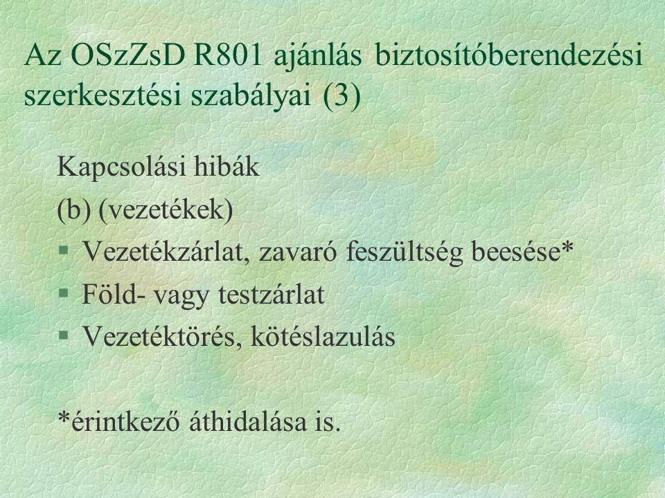 Az OSzZsD R801 ajánlás biztosítóberendezési szerkesztési szabályai (3) Kapcsolási hibák (b) (vezetékek) §Vezetékzárlat, zavaró feszültség beesése* §Fö