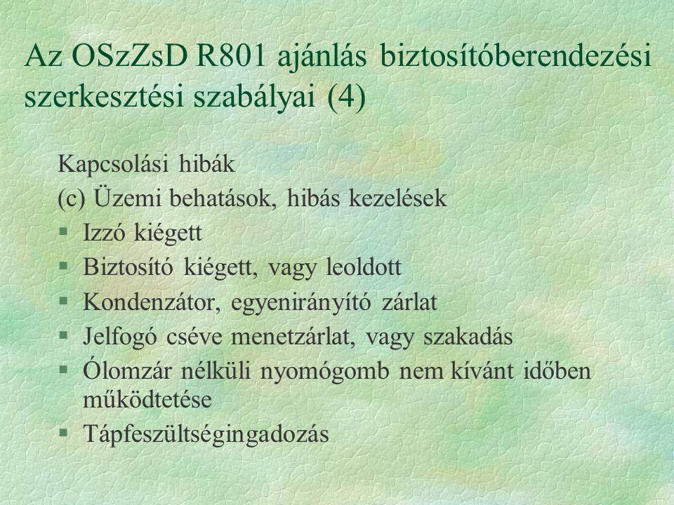 Az OSzZsD R801 ajánlás biztosítóberendezési szerkesztési szabályai (4) Kapcsolási hibák (c) Üzemi behatások, hibás kezelések §Izzó kiégett §Biztosító