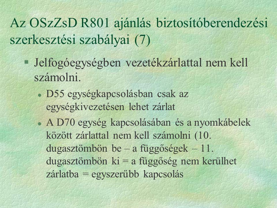 Az OSzZsD R801 ajánlás biztosítóberendezési szerkesztési szabályai (7) §Jelfogóegységben vezetékzárlattal nem kell számolni.