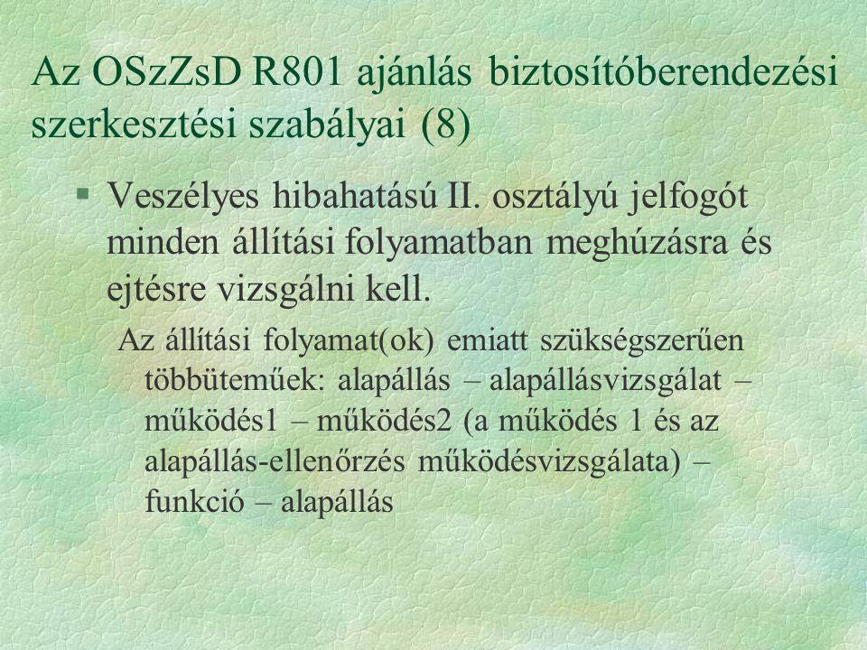 Az OSzZsD R801 ajánlás biztosítóberendezési szerkesztési szabályai (8) §Veszélyes hibahatású II. osztályú jelfogót minden állítási folyamatban meghúzá