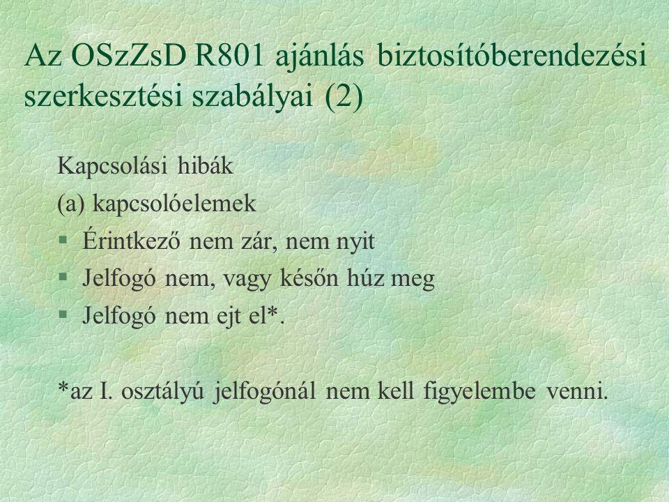 Az OSzZsD R801 ajánlás biztosítóberendezési szerkesztési szabályai (2) Kapcsolási hibák (a) kapcsolóelemek §Érintkező nem zár, nem nyit §Jelfogó nem, vagy későn húz meg §Jelfogó nem ejt el*.