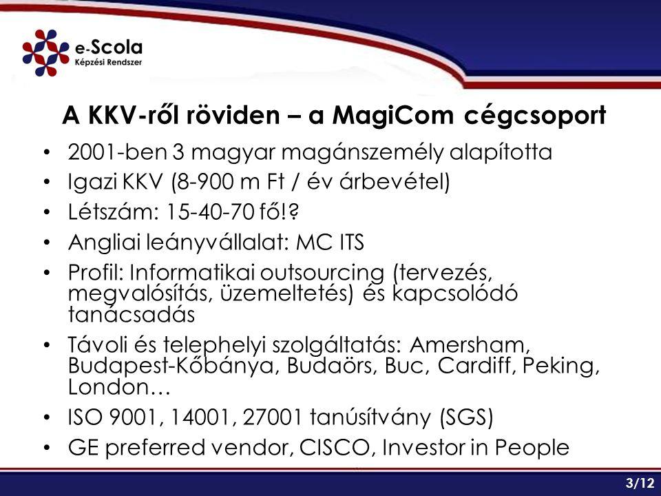 A KKV-ről röviden – a MagiCom cégcsoport 2001-ben 3 magyar magánszemély alapította Igazi KKV (8-900 m Ft / év árbevétel) Létszám: 15-40-70 fő!.