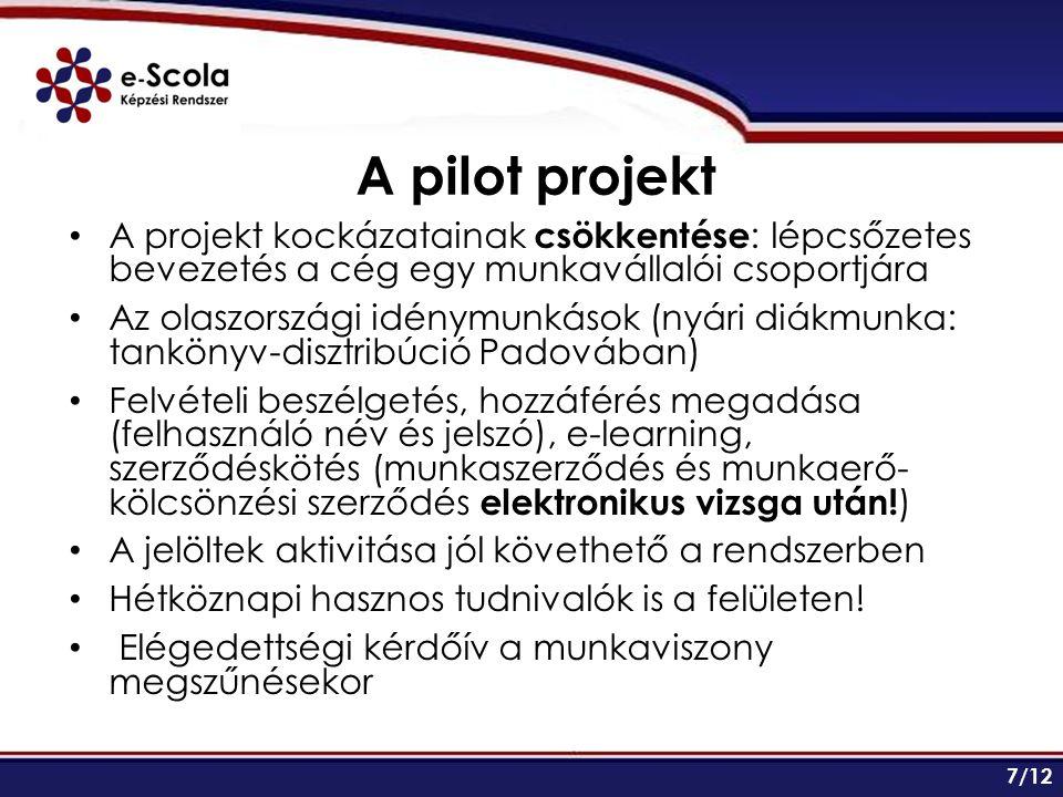 A pilot projekt A projekt kockázatainak csökkentése : lépcsőzetes bevezetés a cég egy munkavállalói csoportjára Az olaszországi idénymunkások (nyári diákmunka: tankönyv-disztribúció Padovában) Felvételi beszélgetés, hozzáférés megadása (felhasználó név és jelszó), e-learning, szerződéskötés (munkaszerződés és munkaerő- kölcsönzési szerződés elektronikus vizsga után.