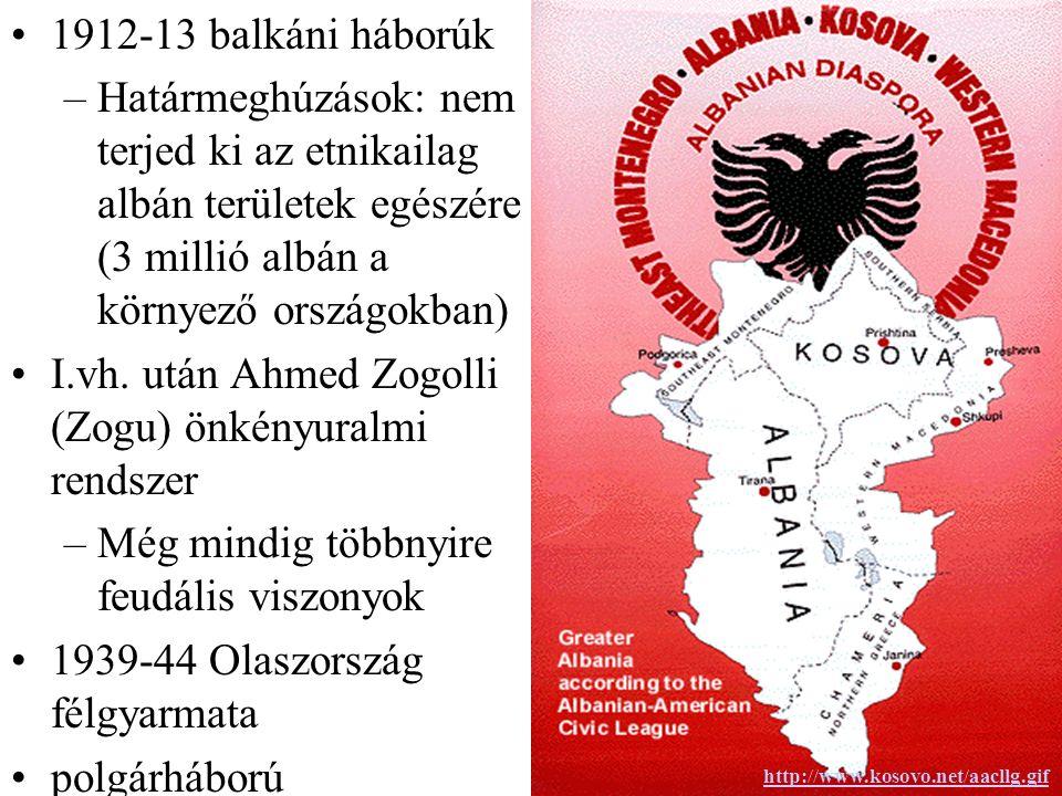 1912-13 balkáni háborúk –Határmeghúzások: nem terjed ki az etnikailag albán területek egészére (3 millió albán a környező országokban) I.vh.