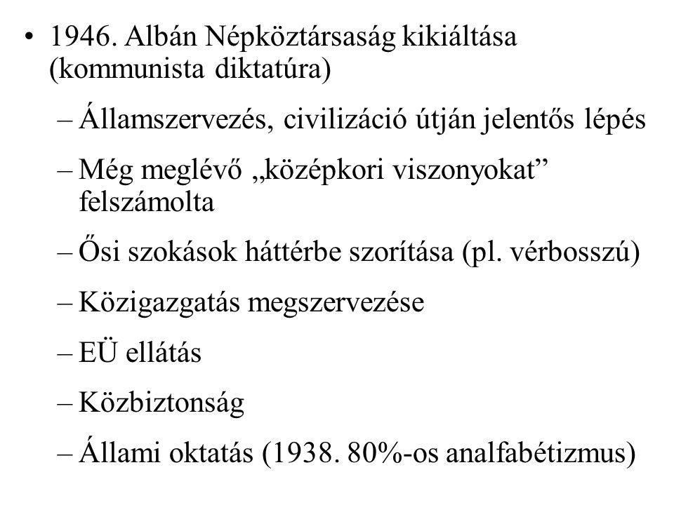Rendszerváltás, gazdaság összeomlása → tömeges kivándorlás, a helyben maradtak több mint 10%-a munkanélkülivé vált Forrásadat: Albán Statisztikai Hivatal